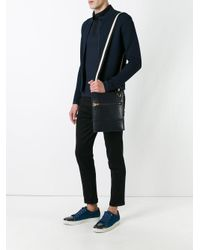 Bally Blue Striped Strap Messenger Bag for men