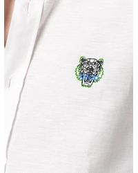 KENZO White Tiger Head Embroidered Shirt for men