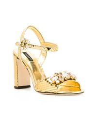 Dolce & Gabbana Metallic Mirrored Embellished Sandals