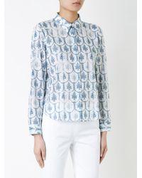Jil Sander Navy White Printed Shirt