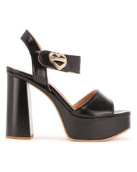 Love Moschino | Black - Heart Buckle Sandals - Women - Polyurethane - 36 | Lyst