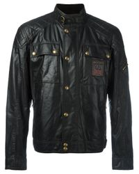 Belstaff | Black Champion Patch Leather Effect Jacket for Men | Lyst