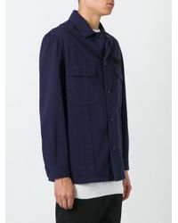 Golden Goose Deluxe Brand Blue Button Up Military Jacket for men