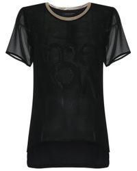 Adriana Degreas - Black Round Neck Silk T-shirt - Lyst