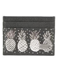 Dolce & Gabbana - Black Pineapple Print Card Holder - Lyst