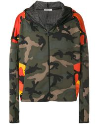 Valentino Green Camouflage-print Hooded Jacket for men