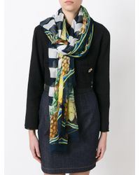 Dolce & Gabbana Black Pineapple Print Striped Scarf