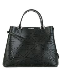 Emporio Armani | Black Perforated Detail Tote Bag | Lyst