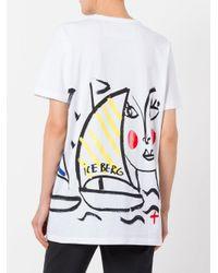 Iceberg - White Face Print T-shirt - Lyst