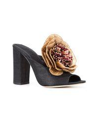 Sanayi 313 Black Flower Applique Sandals