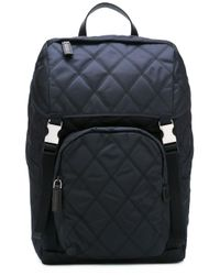 Prada | Blue - Quilted Backpack - Men - Calf Leather/polyamide - One Size for Men | Lyst