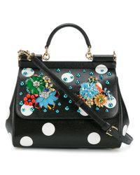 0a89a06f3368 Dolce   Gabbana Embellished Polka-dot Sicily Bag in Black - Lyst