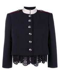Alexander McQueen | Black Military Lace Insert Jacket | Lyst