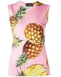 Dolce & Gabbana Pink Pineapple Pattern Tank Top