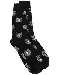 KENZO | Black All-over 'mini Tiger' Socks for Men | Lyst
