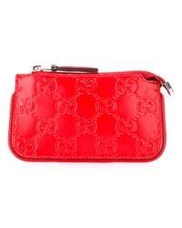 Gucci - Red Signature Key Case - Lyst