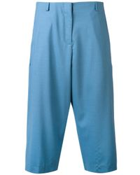 AALTO | Blue Pleated Cropped Trousers | Lyst