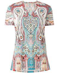 Etro | Multicolor Paisley Print V-neck Top | Lyst