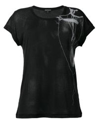 Ann Demeulemeester | Black Bead And Feather Print Rib T-shirt | Lyst