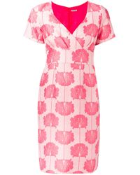 P.A.R.O.S.H. | Pink Floral Embroidered Dress | Lyst