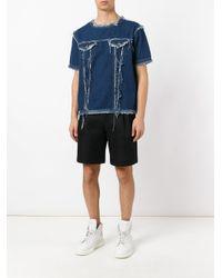 Andrea Crews Blue Frayed Denim T-shirt for men