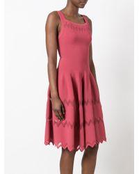 Alaïa Pink Zig-zag Hem Flared Dress