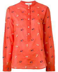 Vanessa Bruno Athé   - Embroidered Henley Blouse - Women - Cotton - 38   Lyst