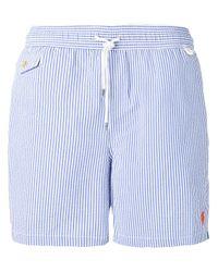 Polo Ralph Lauren | Blue Drawstring Striped Swim Shorts for Men | Lyst