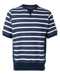 The Gigi - Blue Horizontal Stripe Sweater T-shirt for Men - Lyst
