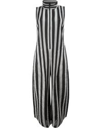 Pleats Please Issey Miyake Black High Neck Striped Jumpsuit
