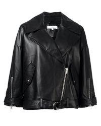 IRO   Black - Reza Jacket - Women - Lamb Skin/polyester/viscose - 36   Lyst