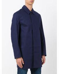 Mackintosh Blue Single Breasted Coat for men