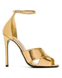 Prada | Metallic - Ankle Strap Sandals - Women - Leather/patent Leather - 37.5 | Lyst