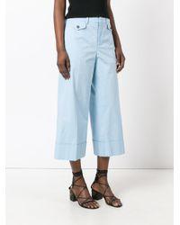 N°21 - Blue Wide Leg Cropped Trousers - Lyst