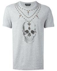 Alexander McQueen | Gray Skull Print T-shirt for Men | Lyst