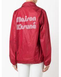 Maison Kitsuné - Red Logo Print Windbreaker Jacket - Lyst