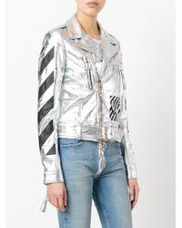 Off-White c/o Virgil Abloh - Metallic Diagonal Carryover Biker Jacket - Lyst