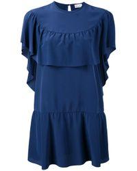 RED Valentino | Blue Ruffle Cape Dress | Lyst