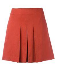 A.P.C. | Orange Pleated Mini Skirt | Lyst