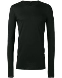 Unconditional   Black - Ribbed Crew Neck T-shirt - Men - Silk/rayon/cashmere - Xs for Men   Lyst
