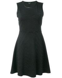Armani Exchange - Black Patterned Sleeveless Flared Dress - Lyst