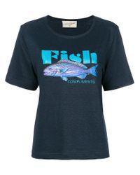 Antonia Zander - Blue Fish Print T-shirt - Lyst