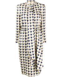 Hermès Blue 1990s Pre-owned Silk Balle De Gold Dress