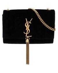 Saint Laurent Black Small Kate Monogram Velvet Bag