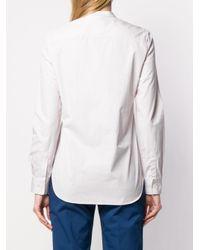 Aspesi White Collarless Button Down Shirt