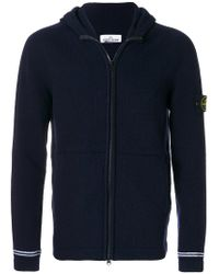 Stone Island | Blue Logo Patch Knitted Hoodie for Men | Lyst