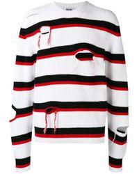 MSGM | White Distressed Stripe Jumper for Men | Lyst