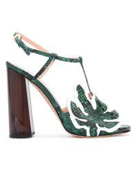 Rochas | Green - Leaf T-bar Sandals - Women - Leather - 38.5 | Lyst
