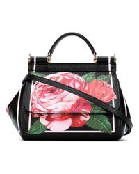 Dolce & Gabbana | Black Floral Tote | Lyst
