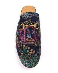 Gucci Blue - Embroidered Princetown Jacquard Slippers - Men - Cotton/leather - 9 for men